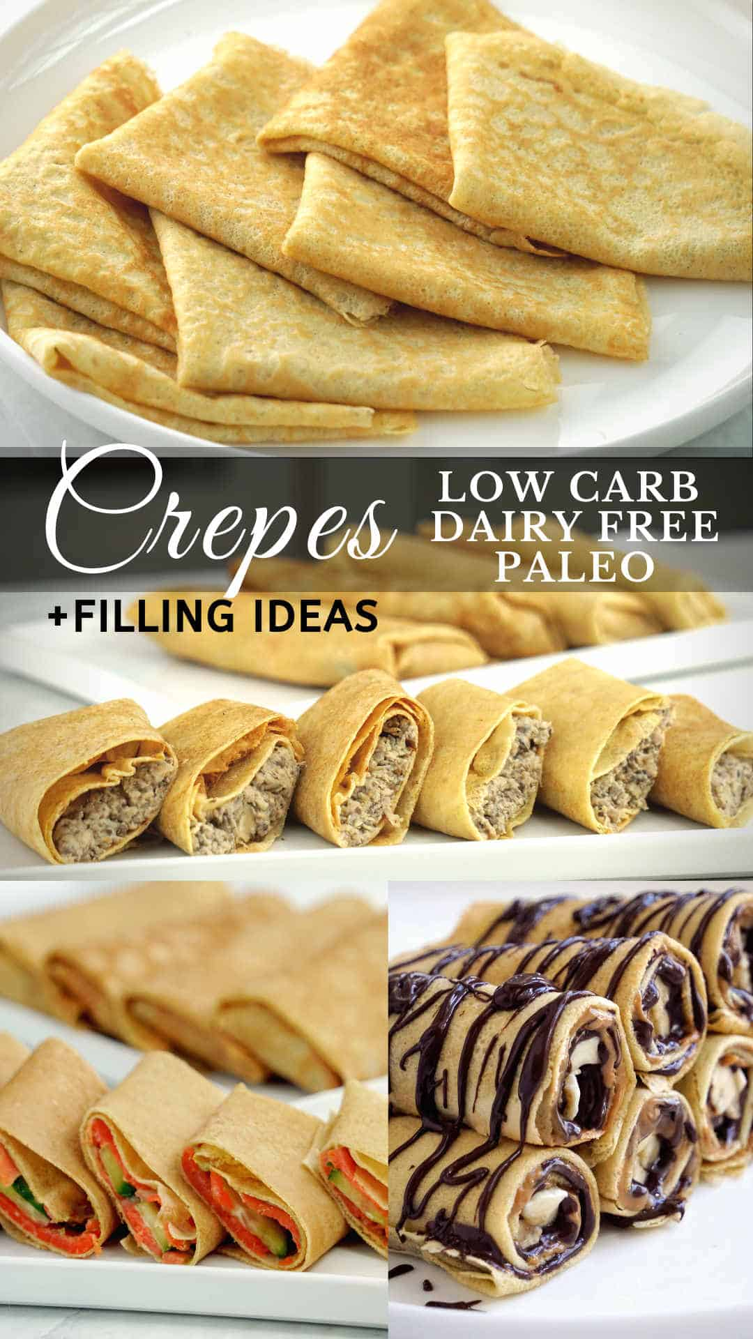 Grain free low carb crepes made with almond flour (almond meal) and banana flour. These low carb crepes are also dairy free, gluten free and paleo compliant, perfect for you clean eating diet too. Thin and flexible low carb crepes with 3 different sweet and savory filling ideas to try.