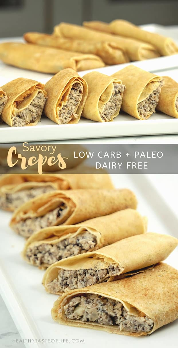 Easy low carb savory crepes (paleo, dairy free, gluten free) with chicken and mushroom filling.