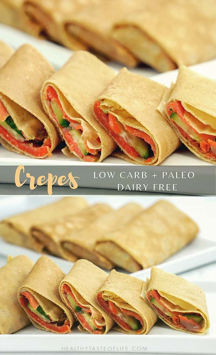Easy low carb savory crepes (paleo, grain free, dairy free) with smoked salmon filling. These low carb crepes are great served for breakfast, lunch, dinner or as a snack.