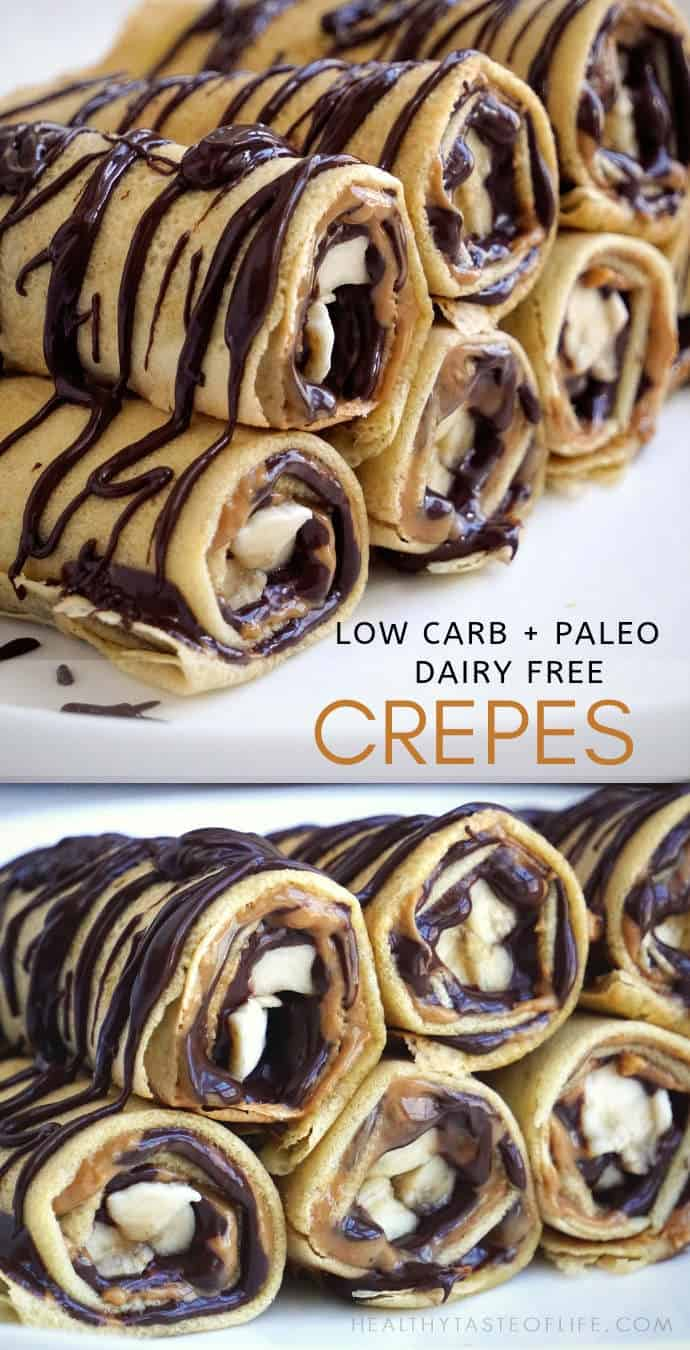 These paleo low carb crepes are grain free, dairy free, sweetened with delicious chocolate and nut butter filling.