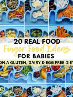 These 20 finger food ideas for babies are healthy allergy friendly (gluten free, dairy free, egg free).