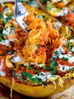 spaghetti squash with bbq chicken recipe healthy