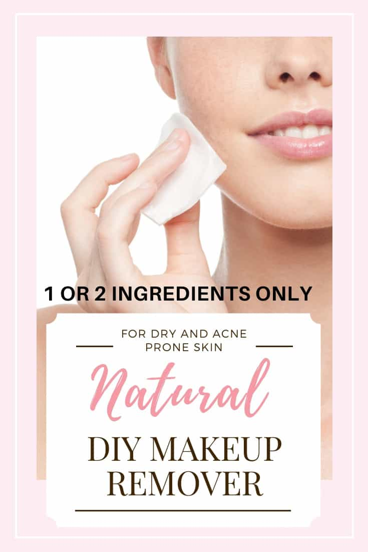 2 Ingredient DIY makeup remover great for eyes and face (no coconut oil). An easy natural DIY makeup remover for both dry / sensitive or oily / acne prone skin. Skip the drugstore toxins, save money, and make the best DIY makeup remover yourself. Learn how to make a simple homemade DIY makeup remover with only natural organic ingredients. #diybeauty #makeupremover #diymakeupremover