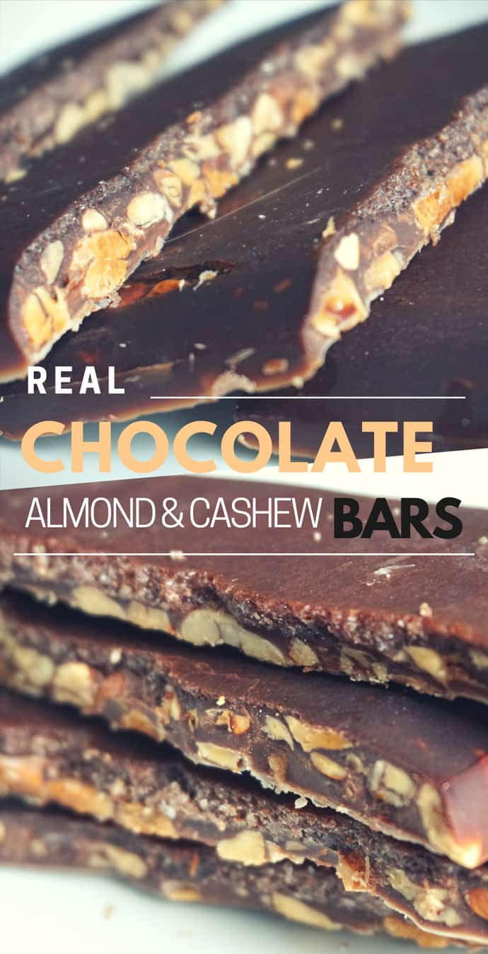 Real Chocolate Almond And Cashew Bars