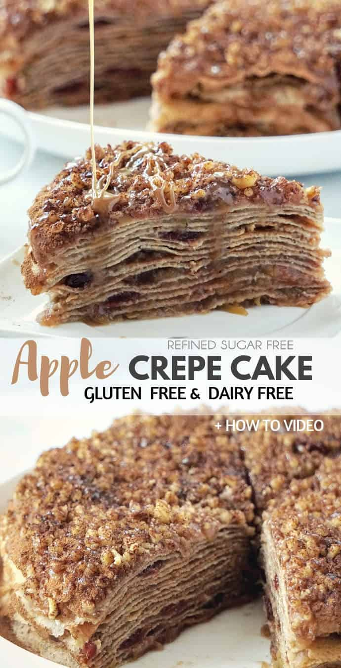 Healthy Apple Crepe Cake – a gluten free, dairy free and refined sugar free dessert with a sweet-spicy flavor of cinnamon. This apple crepe cake recipe consists of 15 layers of thin gluten free and dairy free crepes separated with flavorful cooked apples - all served with a drizzle of dairy free caramel. Basically layered apple crepes + caramel sauce.