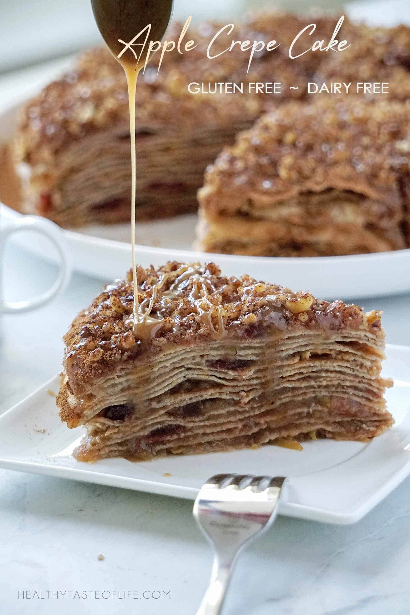 This healthy apple crepe cake is a gluten and dairy free dessert perfect for any special occasions. Thin gluten free crepes layers filled with apple cinnamon filling and topped with walnuts and a delicious dairy free caramel sauce.