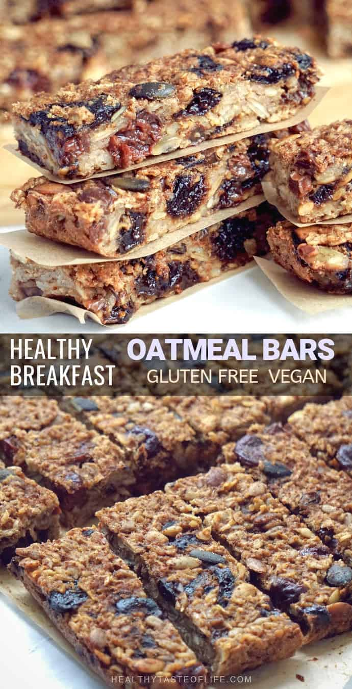 Healthy oatmeal breakfast bars (gluten free, vegan) recipe made by using a mixture of gluten free rolled oats and dried fruits. Soft and chewy – no chocolate and no sugar added. Great for a to-go breakfast or healthy snack, kids will love them too. This healthy oatmeal breakfast bars are perfect for your clean eating and vegan diet.
