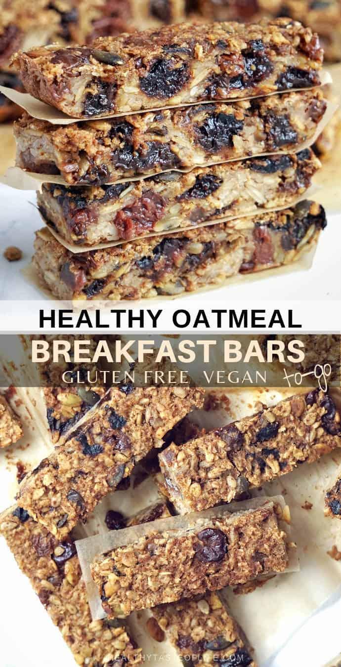 Healthy Oatmeal Breakfast Bars To-Go (Gluten Free, Vegan) | Healthy Taste  Of Life