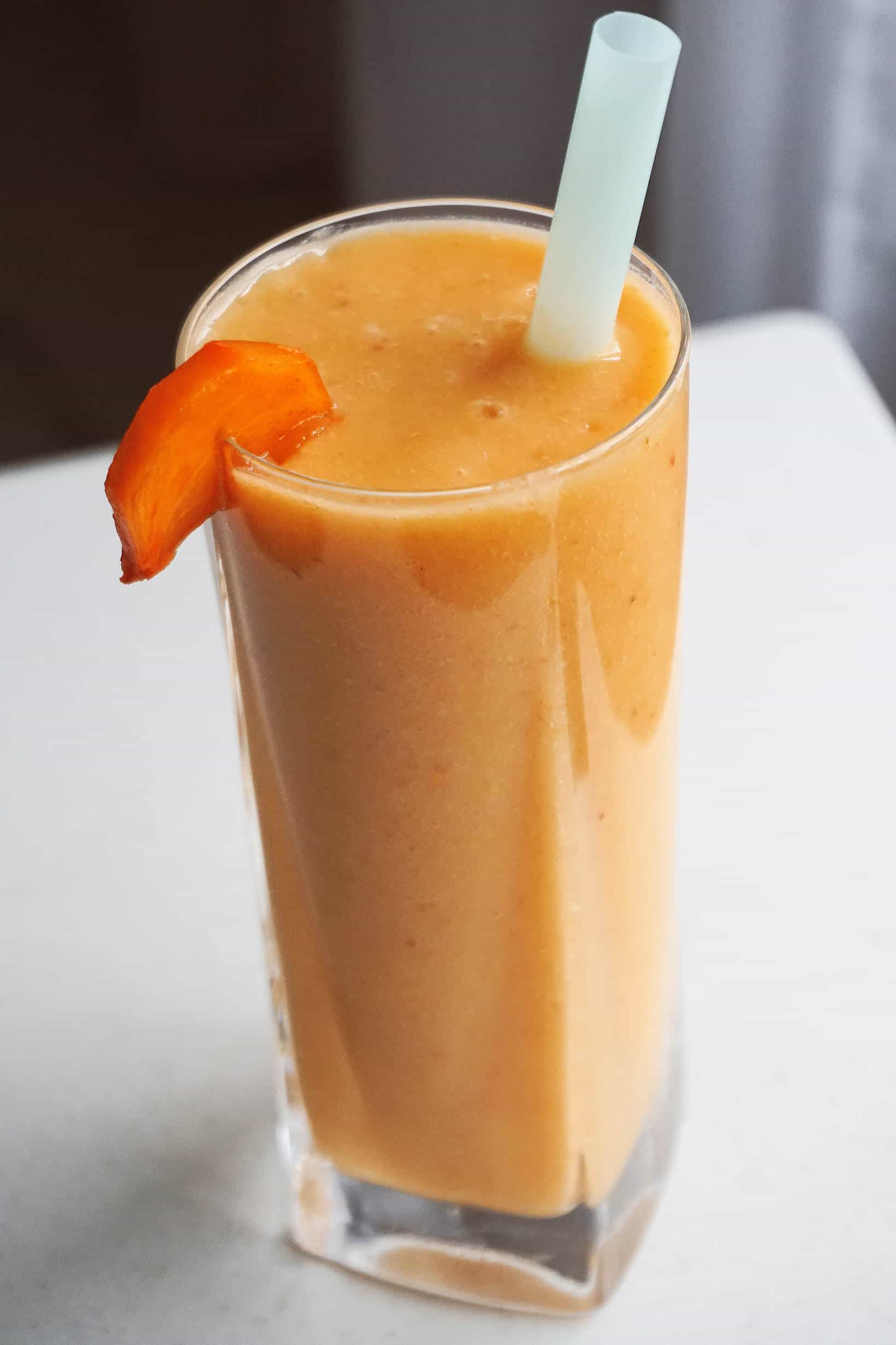 Pineapple, Persimmon & Rhubarb Smoothie - a healthy meal replacement smoothie recipe great for breakfast or snack, full of fiber and vitamins.