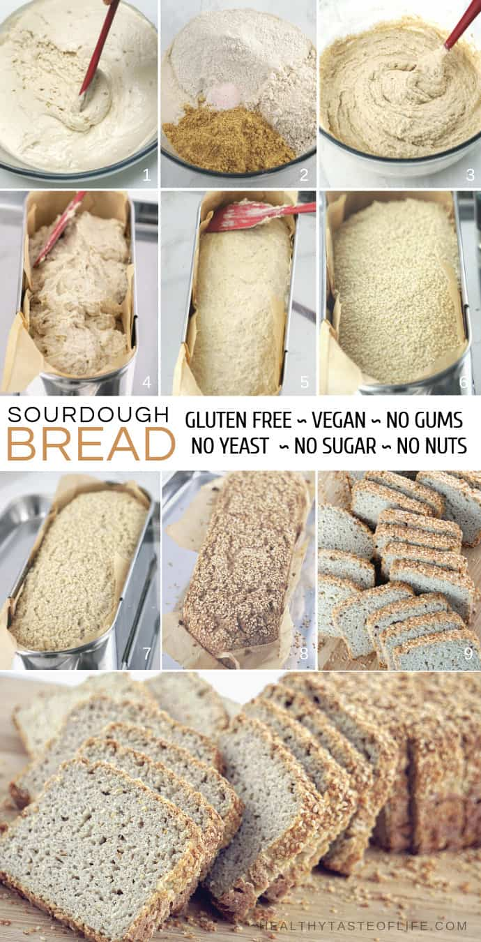 Gluten Free Sourdough Bread - xanthan gum free, yeast free, sugar free, vegan, dairy free, oil free.