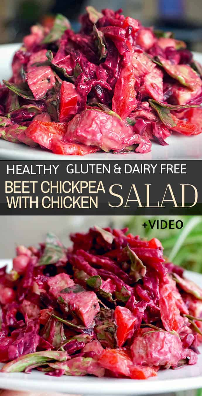 Creamy beet chickpea salad recipe + dressing. This beet chickpea salad is made cooked beet, chopped chicken leftovers, cooked chickpeas, bell peppers, baby greens and a healthy creamy homemade dressing with avocado. A chickpea beet and chicken salad that can be enjoyed as a side dish or as an entire meal.