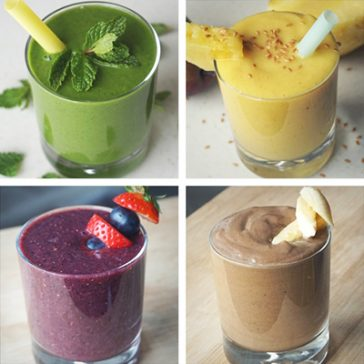 4 Healthy Dairy free / Vegan Breakfast Smoothie Recipes made with anti-inflammatory whole foods – a great way to start clean eating in the morning, to boost your energy and even to loose weight.