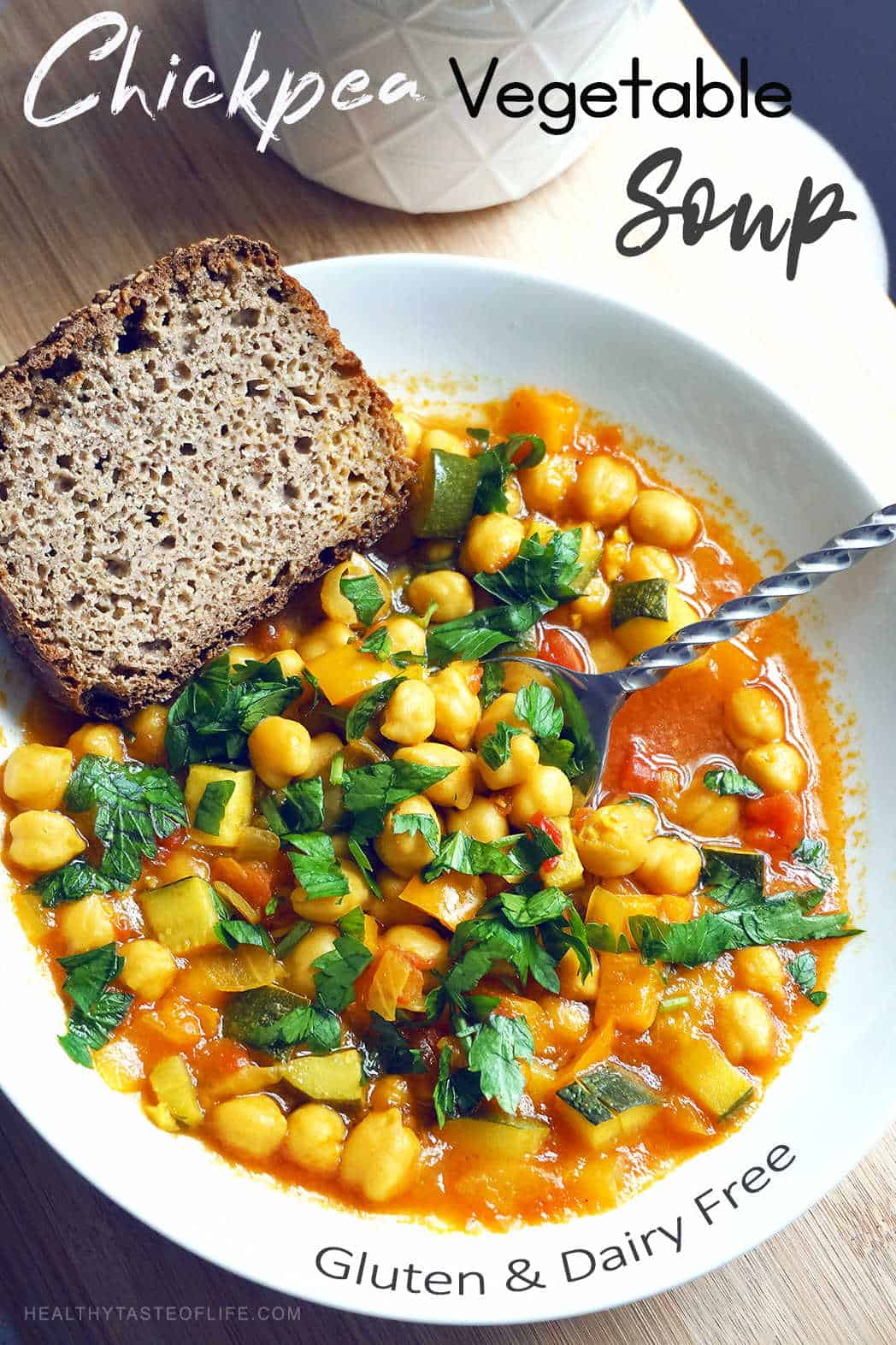 Chickpea Vegetable Soup Gluten Free Dairy Free Recipe