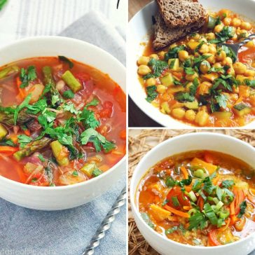 3 Hearty, healthy gluten free / dairy free vegetable soup recipes made with fresh nourishing veggies, herbs and warming spices. These healthy gluten free meatless vegetable soup recipes are simple to customize, suitable for vegan, whole 30, paleo, vegetarian and clean eating diets.