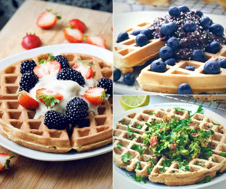 Learn how to make healthy waffles from scratch! These 3 simple, fluffy, gluten free belgian waffles recipe ideas will make your breakfast so much more enjoyable. They are easy to make, healthy, gluten-free, dairy-free (no butter, no milk) and refined sugar free