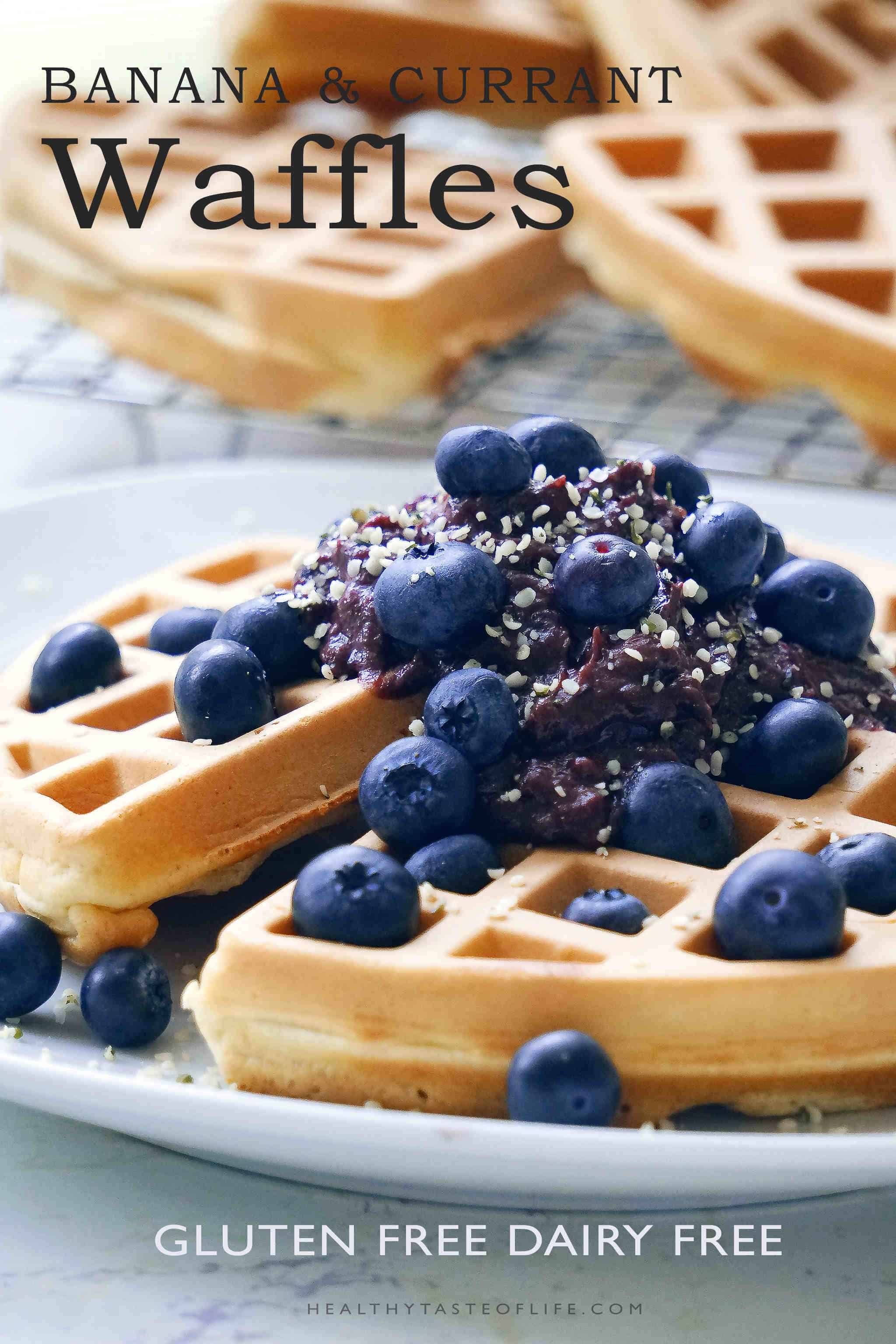Healthy gluten free banana waffles recipe. These fluffy Belgian waffles are topped with a sweet, dairy free, fruit based cream - the perfect clean eating (banana flavored) breakfast.