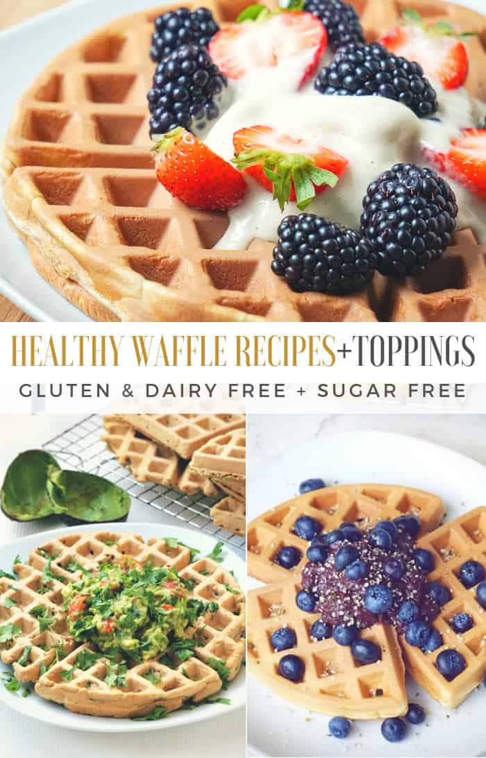 Gluten free Belgian waffles recipe ideas sweet and savory toppings.
