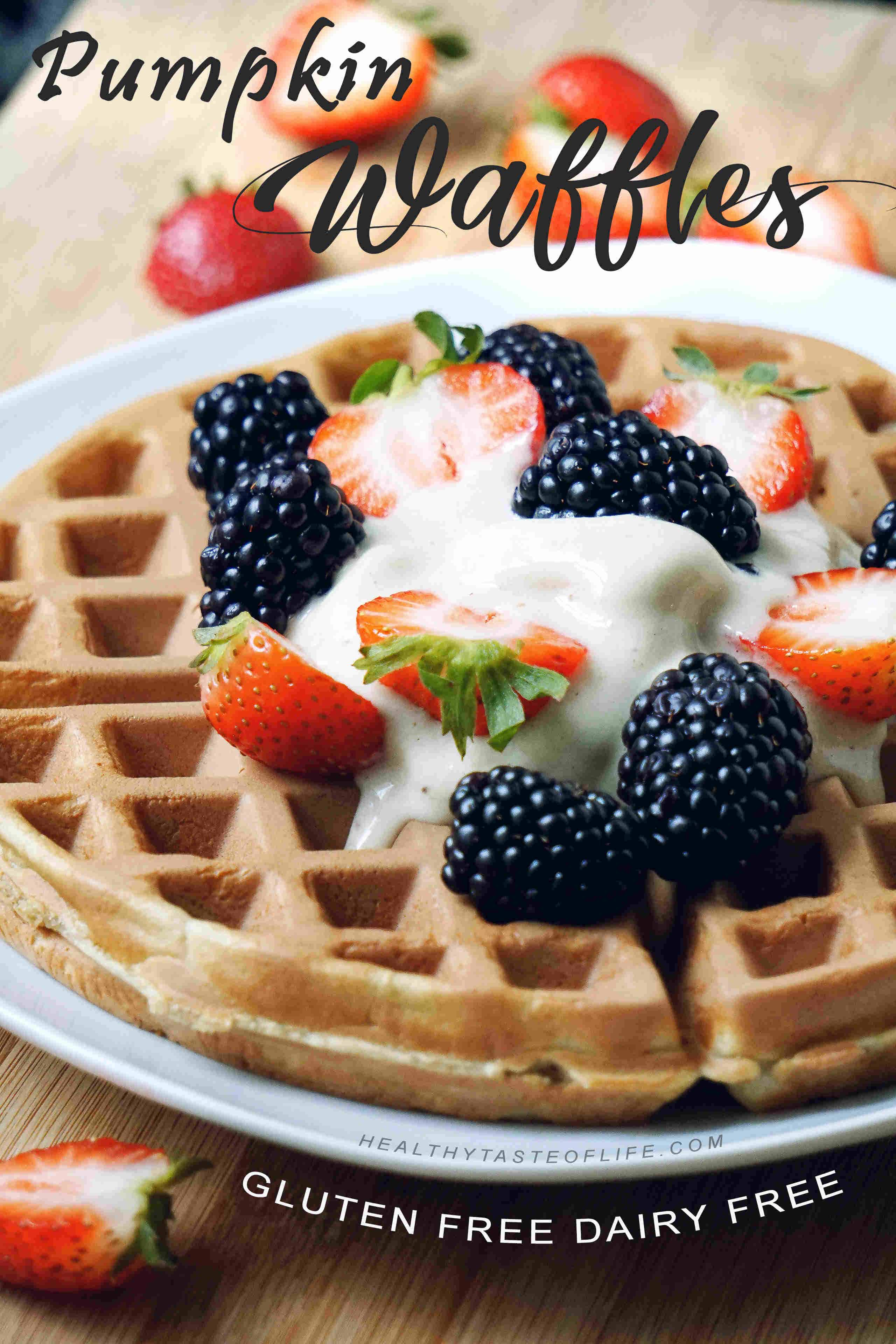 Learn how to make healthy homemade, gluten free pumpkin waffles with clean ingredients. This pumpkin waffles recipe is easy to make, its dairy free, gluten free, sugar free - perfect for a healthy breakfast or brunch.