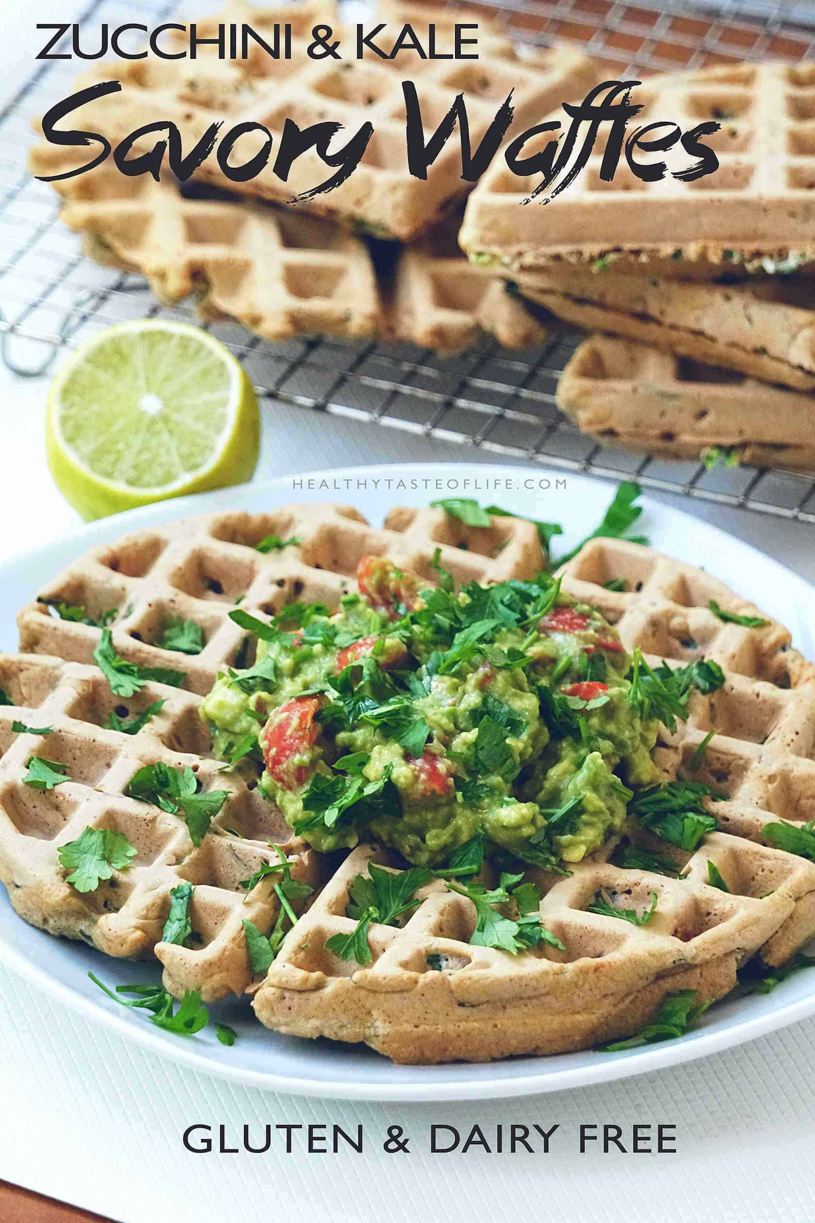 Learn how to make healthy gluten free savory waffles. This savory veggie waffles recipe is great for a clean eating brunch / breakfast or a healthy snack for kids. These waffles are dairy free, gluten free and can be served for lunch or dinner too!
