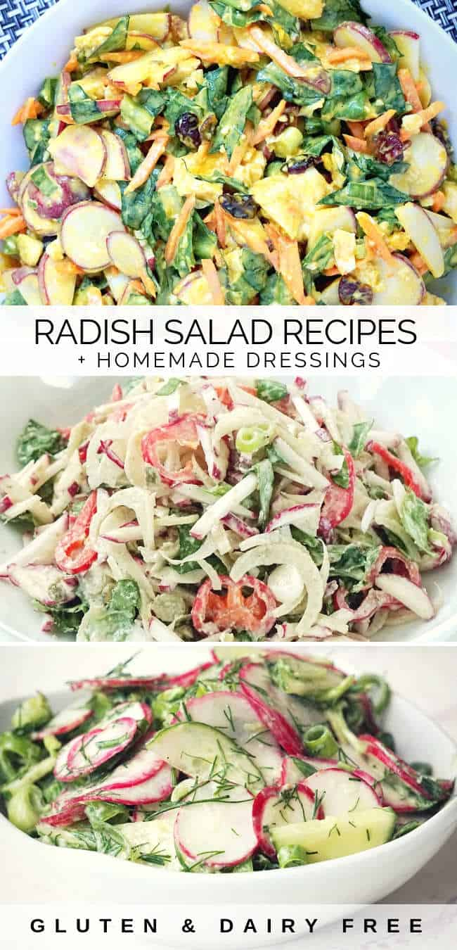 3 Healthy radish salad recipes that are gluten free, dairy free, vegan made with fresh raw radishes and creamy homemade dressings. This spring salad recipe can be served as a side dish, healthy lunch or dinner. It's suitable for whole 30, vegan, paleo and clean eating anti-inflammatory diets.