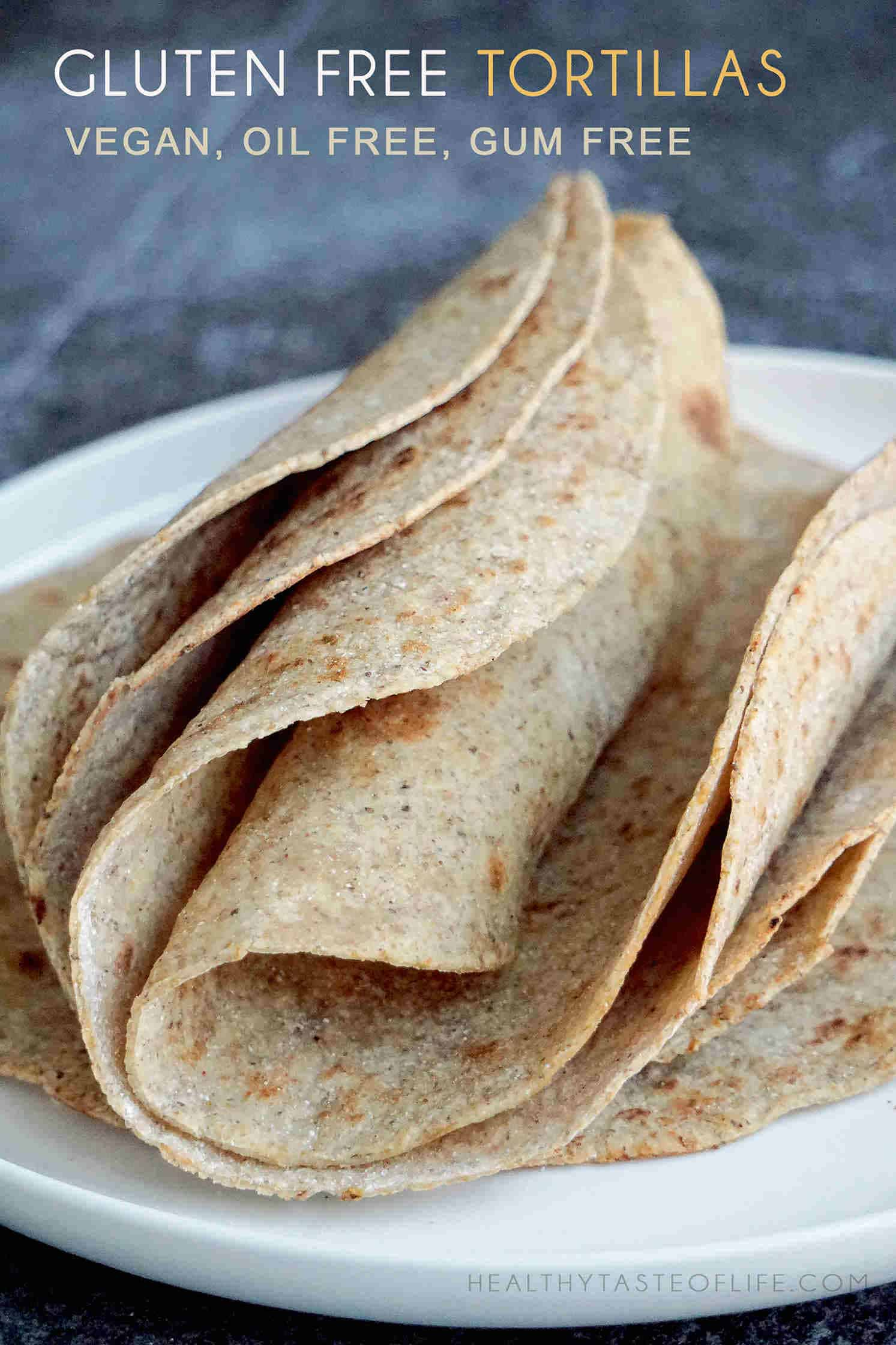 Healthy gluten free tortillas recipe (vegan)  + VIDEO, made with healthy ingredients, no oil, no dairy, no eggs, no nuts, no baking powder – perfect for clean eating. Makes 5 healthy gluten free vegan tortillas. These homemade gluten free tortillas are nutrient packed— great for wraps, tacos, burritos or enchiladas.