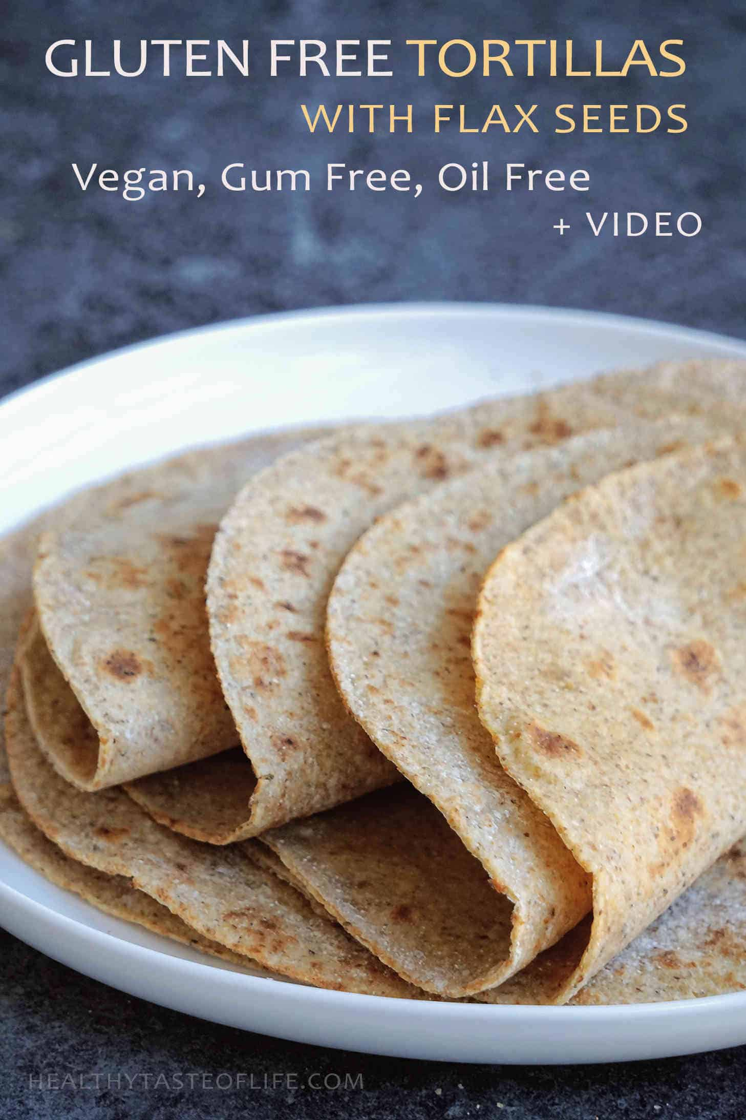 Healthy tortillas recipe (gluten free, vegan) made with cassava flour, flax seeds, chia seeds and a mix of gluten free flours. Makes 5 healthy gluten free tortillas. These homemade gluten free tortillas are nutrient packed— great for wraps, tacos, burritos or enchiladas.
