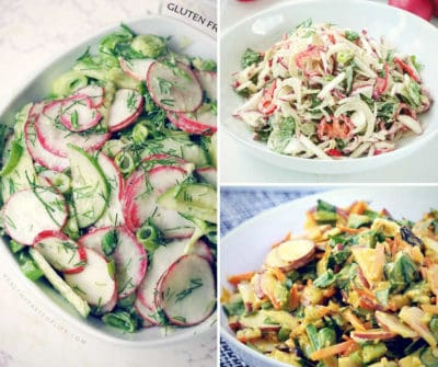 3 Healthy radish salad recipes that are gluten free, dairy free, vegan made with fresh raw radishes and creamy homemade dressings. These spring salad recipes can be served as a side dish, healthy lunch or dinner. It's suitable for whole 30, vegan, paleo and clean eating anti-inflammatory diets.