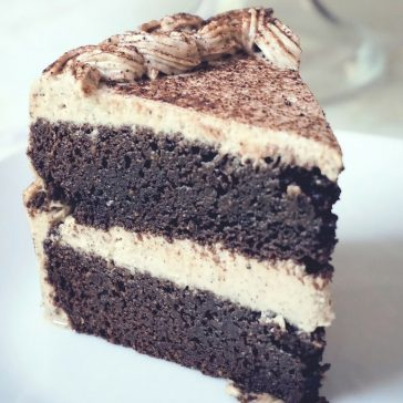 Healthy Gluten Free, Dairy Free Mocha Cake Recipe – a chocolate and coffee flavored cake, with a creamy dairy free mocha frosting, perfect for a birthday dessert.