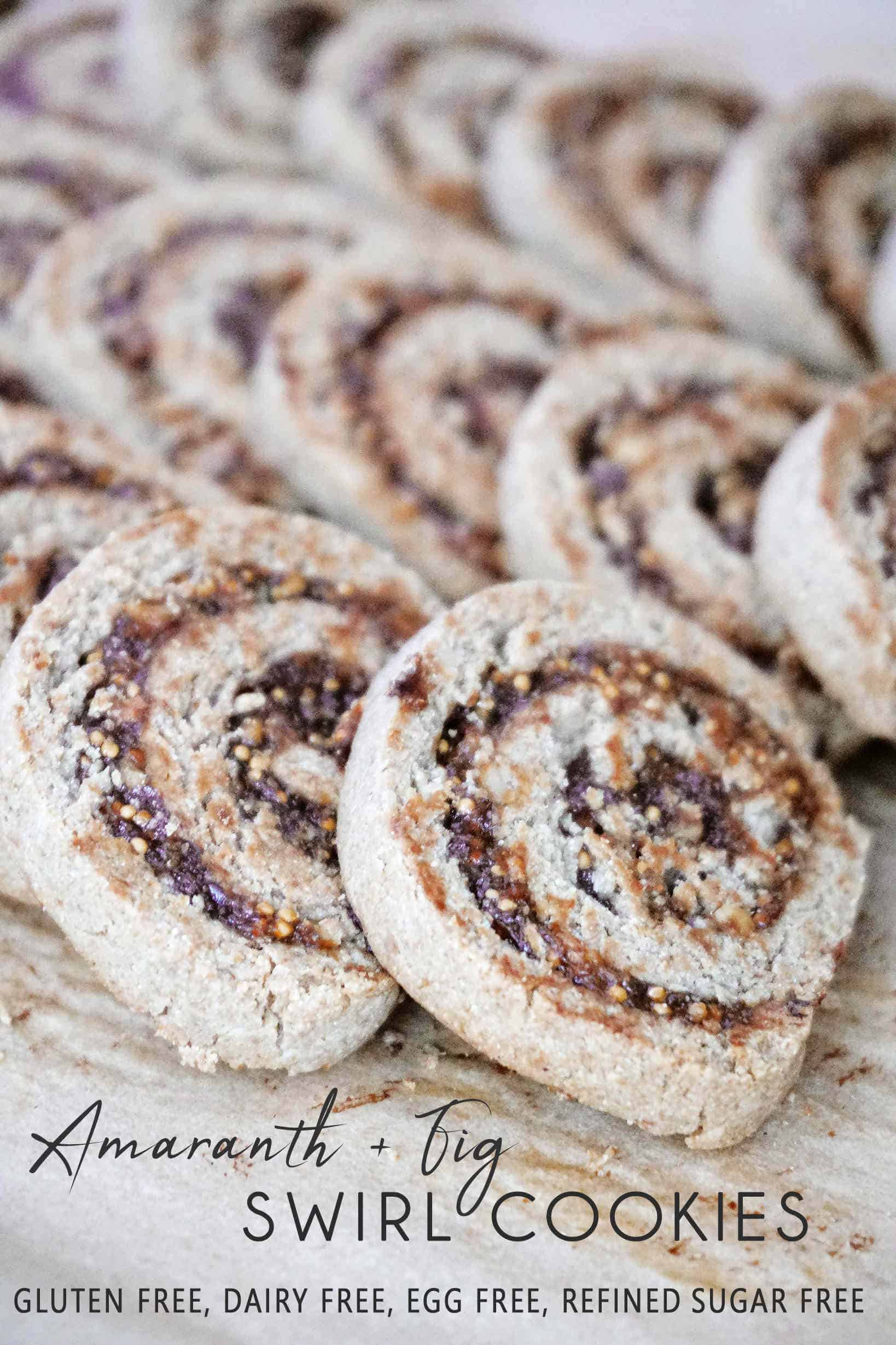 ACrisp fig pinwheel cookies with a swirl of dried figs and chopped walnuts. They are also eggless and dairy free, suitable for gluten free and vegan diets. You can enjoy them as a snack, dessert or as a gift during holidays.