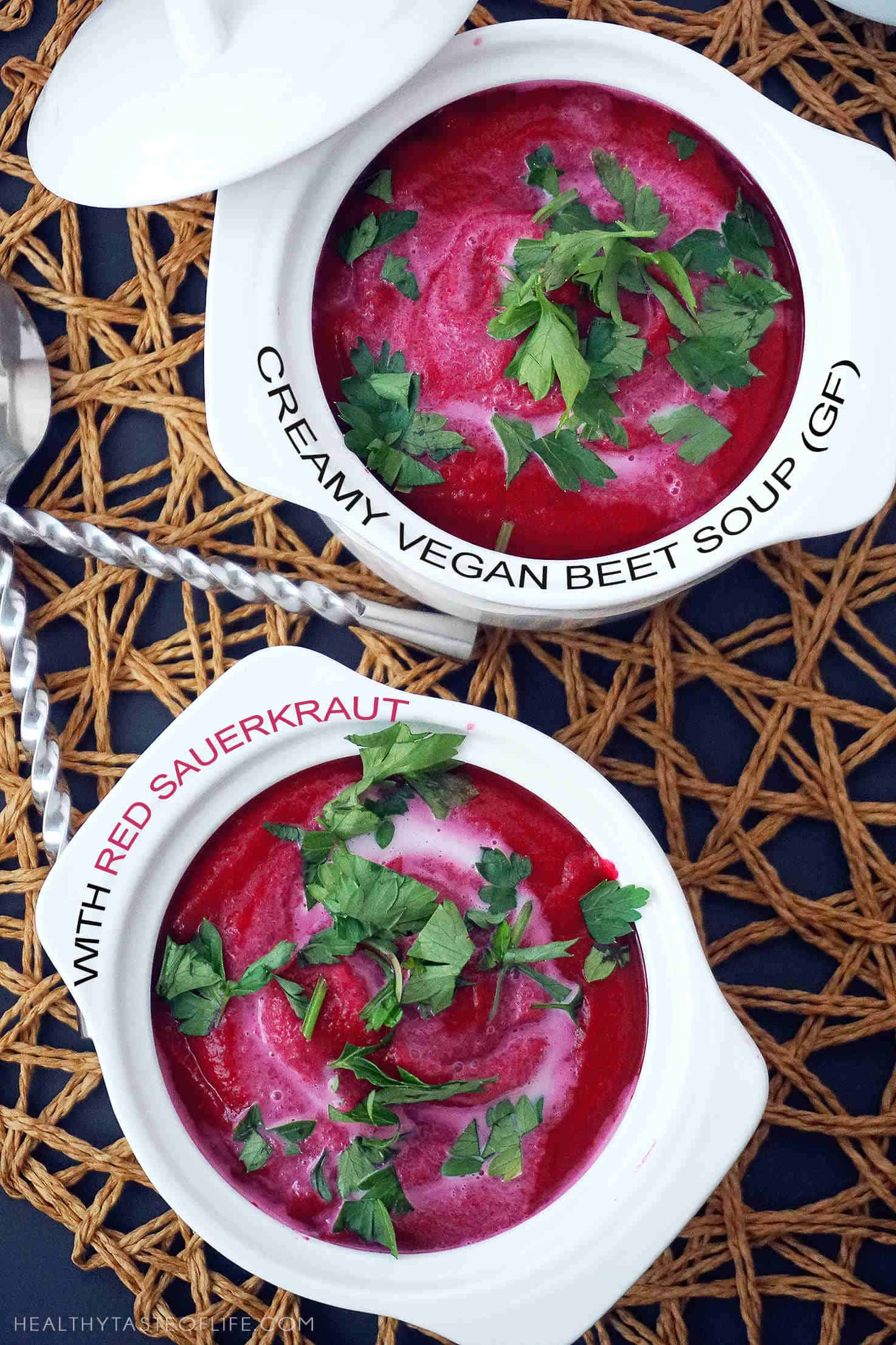 """This delicious creamy beet soup recipe is a simple vegan version of traditional borscht made creamy in a blender. A healthy, gluten free soup with sweet-and-sour hues made with beets and red sauerkraut that make the flavor """"pop"""", perfect for cold weather!"""