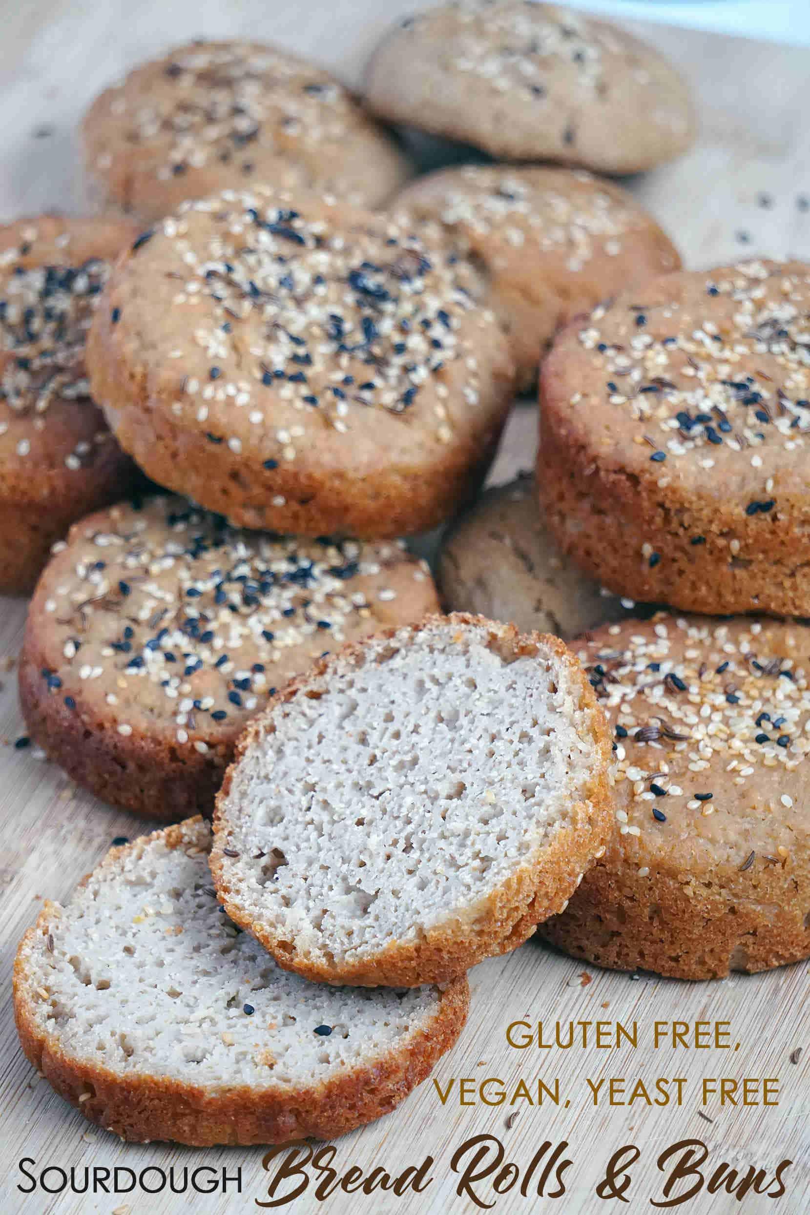 Vegan Gluten Free Sourdough Bread Rolls and Buns recipe: dairy free, egg free, yeast free, xanthan gum free, vegan, soy and nut free.