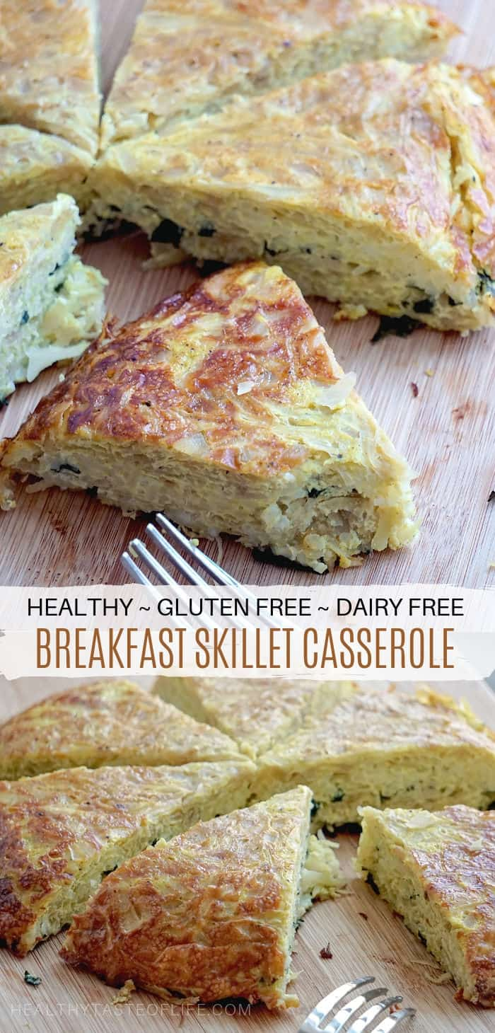 Oven baked gluten and dairy free breakfast casserole made with cabbage, eggs, rice and herbs.