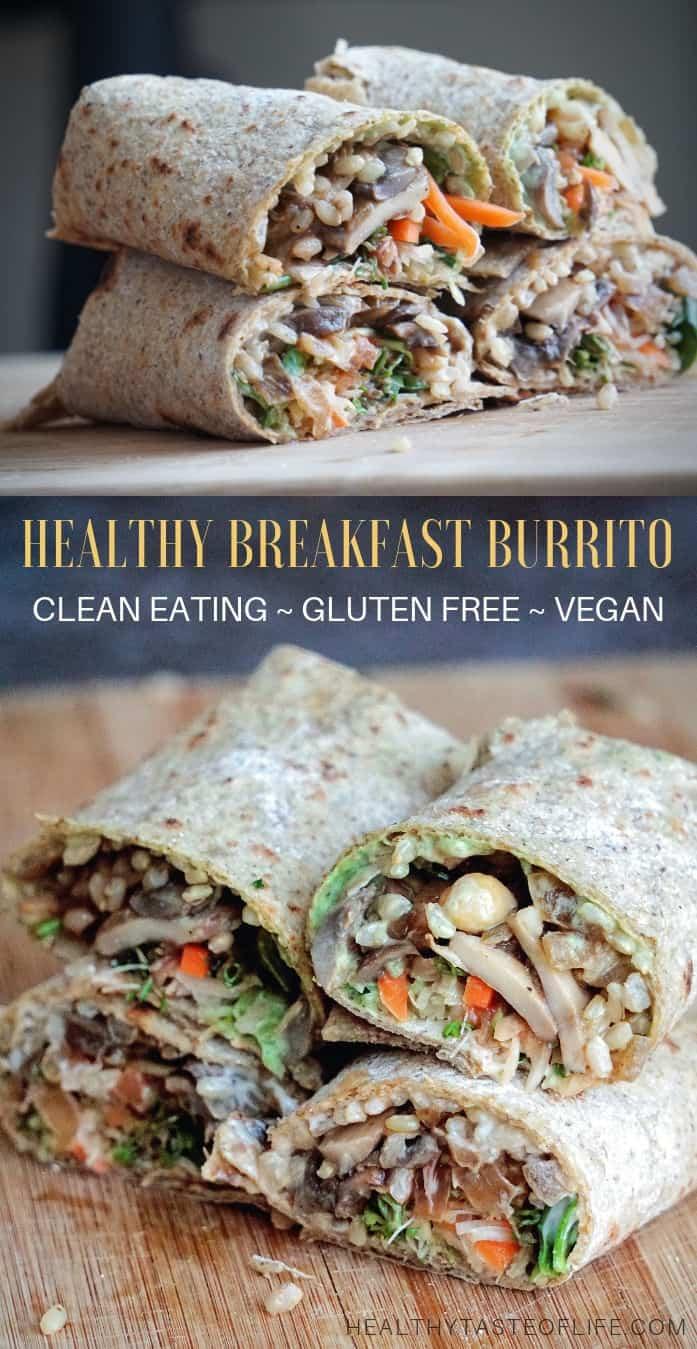 Gluten free breakfast burritos made with homemade gluten free tortillas with mushroom, rice, chickpeas and vegan sauce.