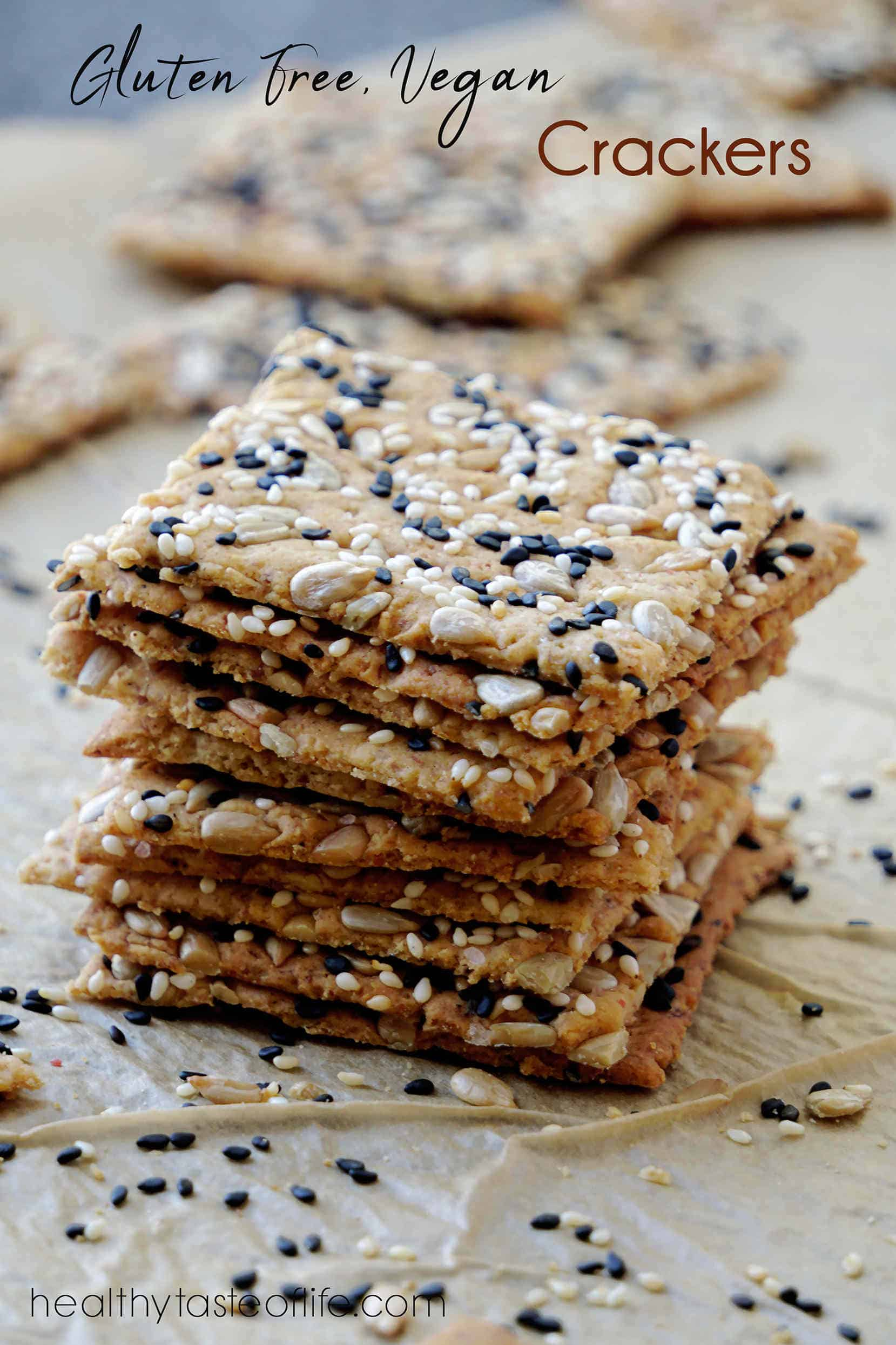 Healthy gluten free sourdough crackers recipe made with a mix of gluten free flours, a variety of seeds and gluten free sourdough starter discard These are crispy, thin, flaky, vegan gluten free crackers that are easy to make and ready in 30 minutes.