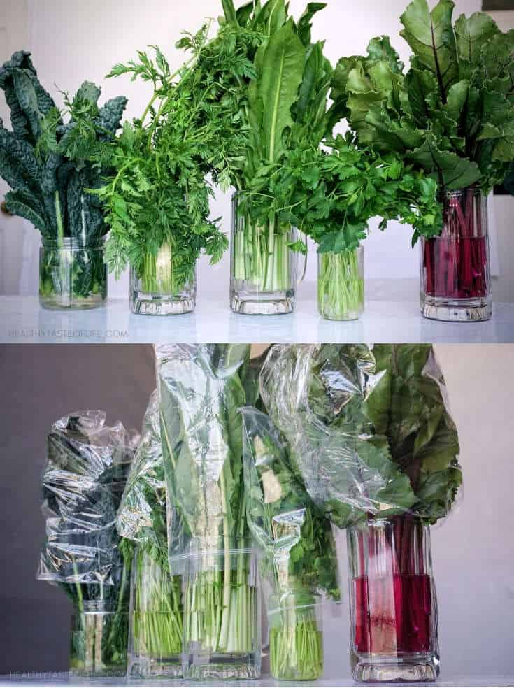 Learn a few meal prep tips for clean eating: how to store and organize fresh produce and cooked food in order to keep it fresh longer. Store your leafy greens the right way to last longer.