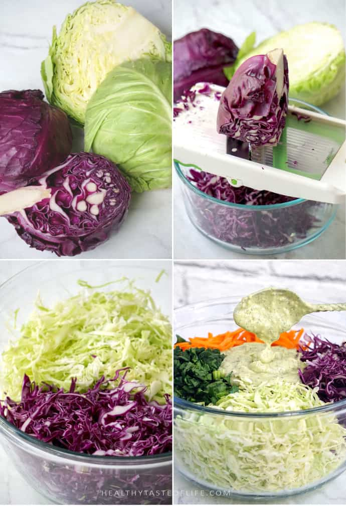 How to make healthy creamy whole30 coleslaw dairy free, gluten free, keto, paleo, low carb no mayo dressing.