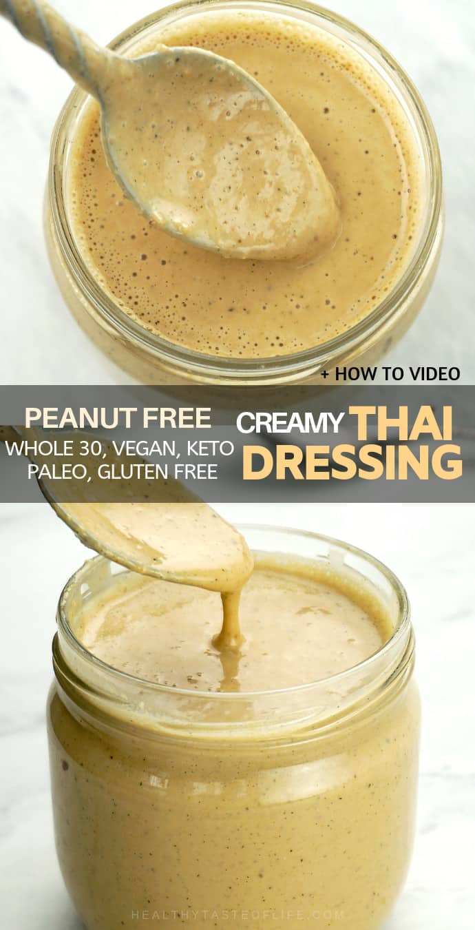 Creamy Thai Salad Dressing (peanut free option) - vegan, low carb, gluten free, whole30 compliant.