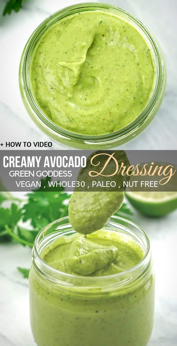 Vegan Creamy Avocado Salad Dressing recipe (Gluten free dairy free) green goddess.