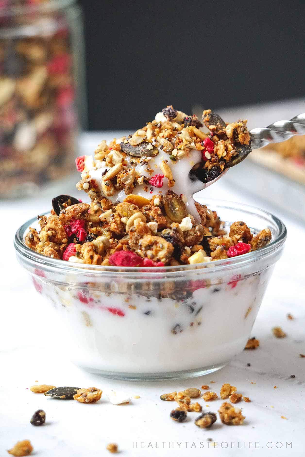 Healthy Keto Granola Recipe - great for Low Carb, Paleo, Whole 30, Dairy Free, Gluten Free and Vegan diets.