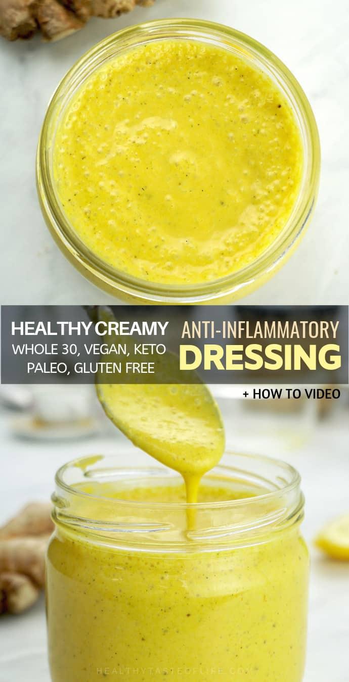 Healthy Creamy Anti-inflammatory Salad Dressing – dairy free, gluten free, vegan,  made with fresh lemon juice, ginger, honey, turmeric.