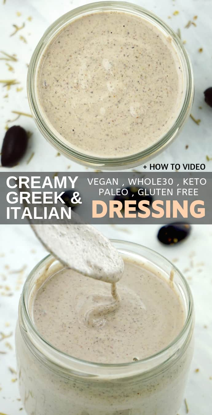 Healthy Creamy Italian & Greek Salad Dressing Recipe – gluten free, dairy free, low carb, keto, vegan, clean eating and whole30 approved.
