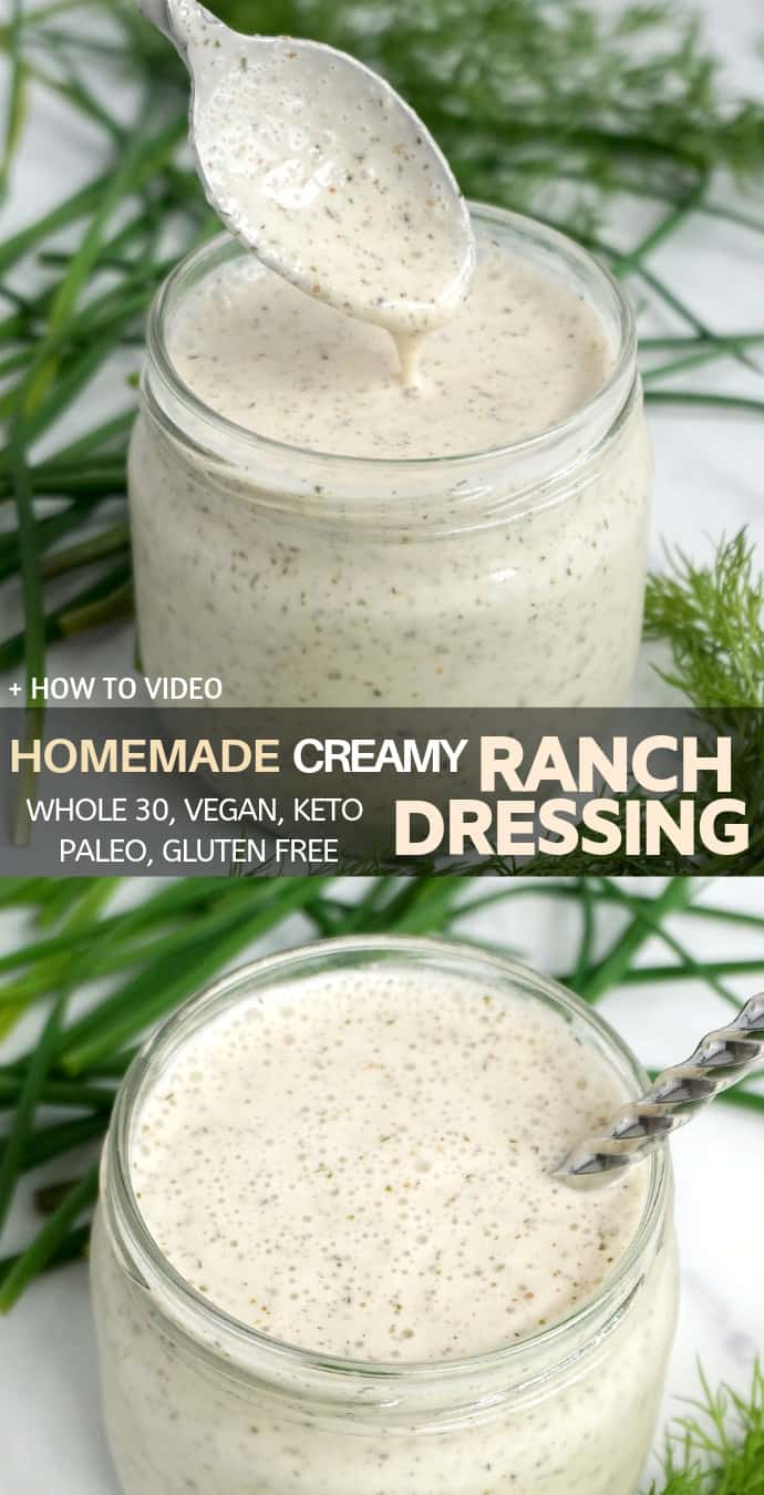 Dairy Free Vegan Ranch Dressing – easy, dairy free, low carb, keto, clean eating, paleo and whole30 approved.