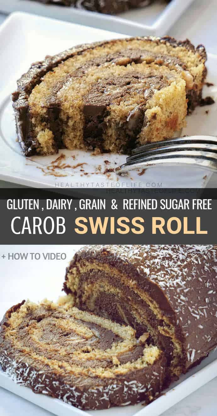 """This easy gluten free swiss roll cake is covered in a delicious layer of """"chocolaty"""" carob frosting and is also dairy free, grain free & refined sugar free. Whether you call it a Swiss Roll, a Roulade Cake or a Yule Log, this simple sponge roll cake is sure to make an impressive gluten free dairy free or paleo dessert for any party. If you want a chocolate swiss roll but you are allergic to chocolate, then you should try this recipe made with a chocolate substitute."""