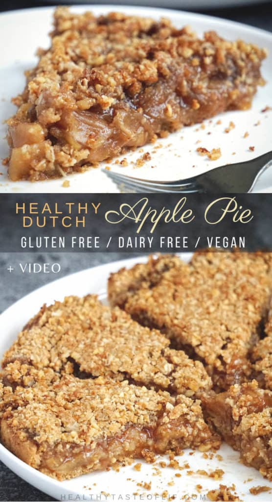 Healthy Crumble Apple Pie (Vegan / Gluten Free / Dairy Free / Egg Free) Recipe: thin slices of flavorful apples in a delicious cinnamon filling placed on a gluten free vegan pie crust and topped off with a crunchy cinnamon maple sugar crumb topping - creates the best Vegan Gluten Free Dutch Apple Pie for your Holiday table. Easy, simple and delicious!