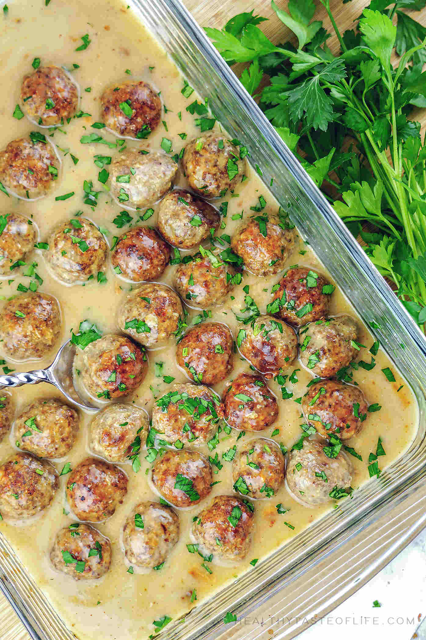 Easy gluten free Swedish meatballs with dairy free sauce (+ whole30, paleo and keto options), oven baked.
