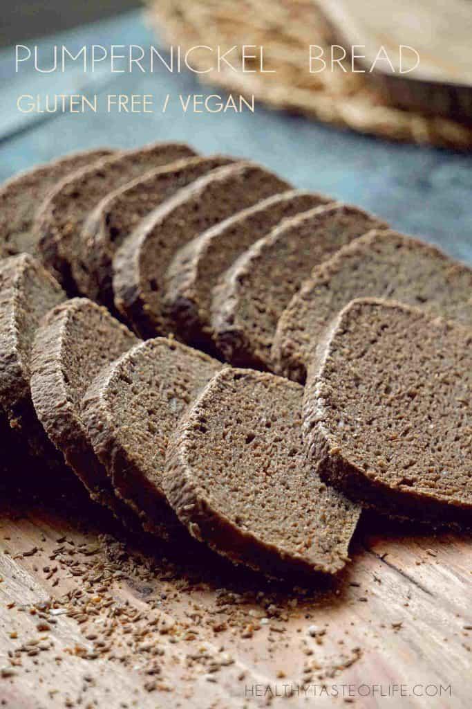 Homemade Gluten Free Sourdough Pumpernickel bread Recipe -  Vegan, no xanthan gum, no yeast, no oil.  Gluten Free Pumpernickel bread made with buckwheat flour, teff flour and rice flour.