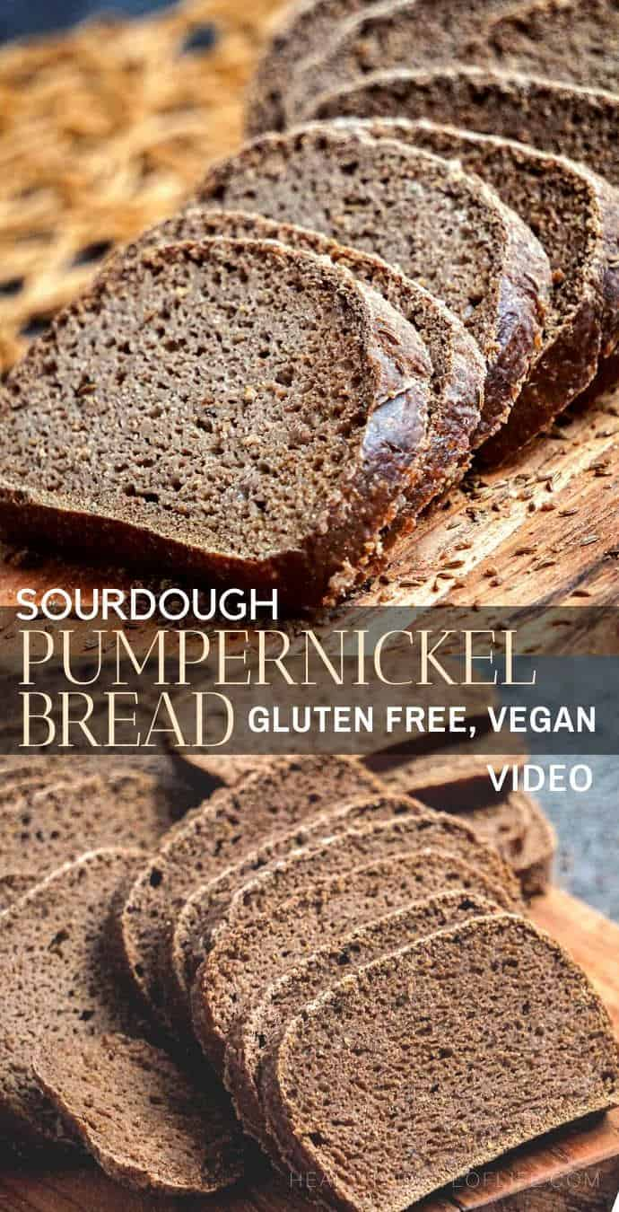 Gluten Free Sourdough Pumpernickel Bread Recipe – It's a vegan gluten free sourdough loaf made with whole grain flours like buckwheat, teff, brown rice flour, seeds and there's no yeast and no xanthan gum. This gluten free pumpernickel bread recipe makes the most flavorful sandwich bread.  #GlutenFreeSourdough #SourdoughBread #VeganGlutenFreeSroudough