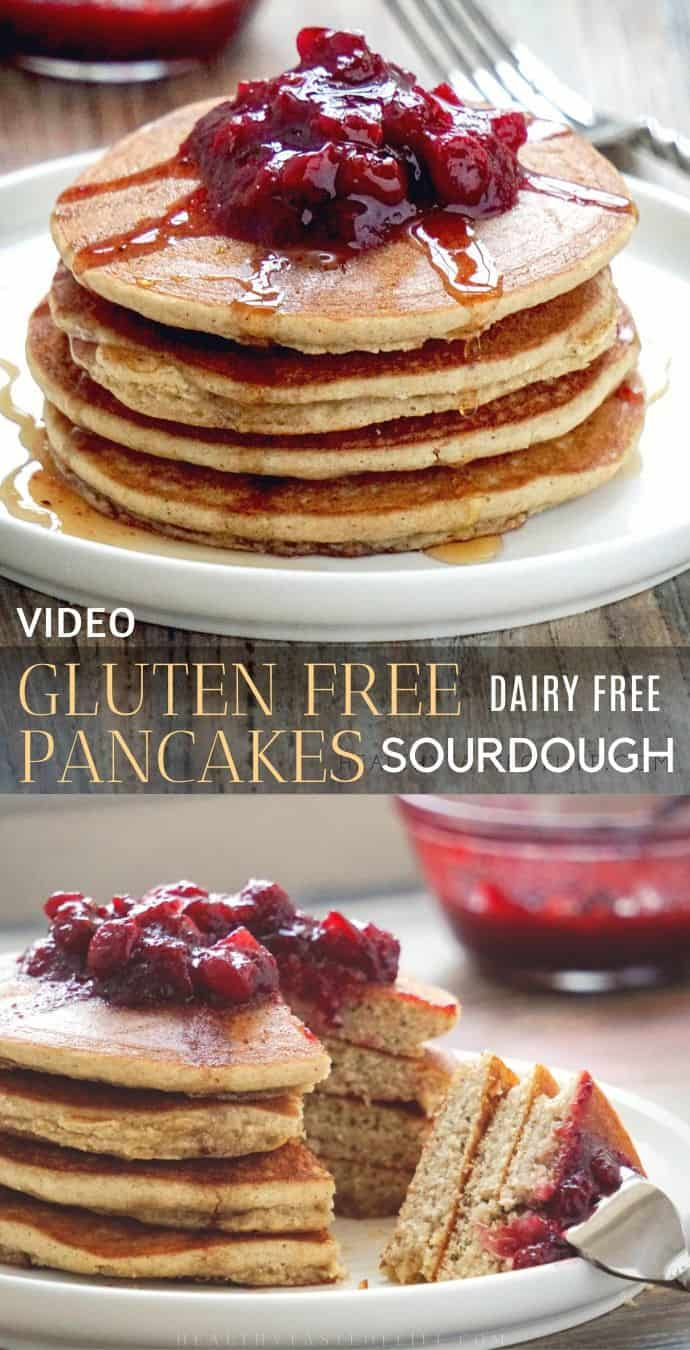 Healthy fluffy gluten free pancakes made with the discarded sourdough starter, sorghum flour, apple sauce and without dairy. These gluten free pancakes have no xanthan gum, no baking powder, no oats and no bananas. An easy gluten free pancake recipe that makes 10 light and fluffy pancakes  – the perfect breakfast even for kids!