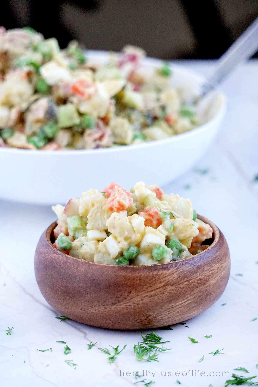 Russian potato salad recipe. No mayo potato salad. olivier salad