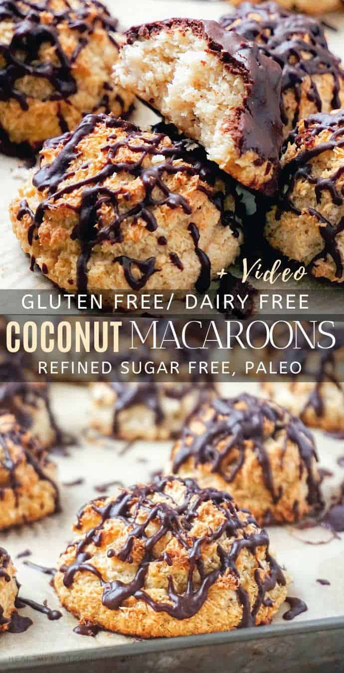 Healthy Gluten Free Coconut Macaroons (Dairy Free, Paleo) Recipe and Video.